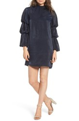 Lost Ink Tiered Sleeve Shift Dress Navy