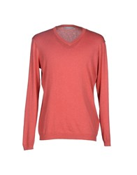 Silk And Cashmere Knitwear Jumpers Men Coral