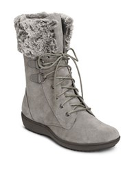 Aerosoles Pinelands Fleece Trimmed Suede Mid Calf Boots Dark Grey