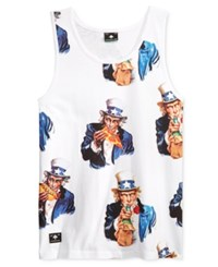 Lrg Men's Big And Tall Uncle Sammy Graphic Print Tank White