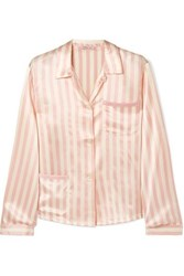 Morgan Lane Ruthie Striped Silk Charmeuse Pajama Shirt Blush