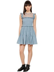 Red Valentino Frilled Taffeta Dress