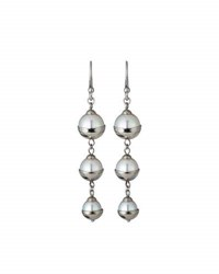 Majorica Graduated Triple Pearl Dangle Earrings Silver