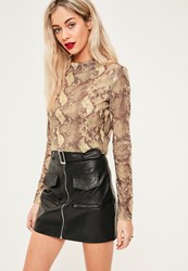 Missguided Tall Exclusive Nude Snake Print Crop Top