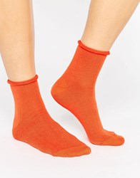 Asos Roll Top Ankle Socks Orange