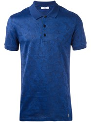 Versace Collection Patterned Polo Shirt Blue