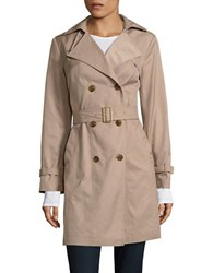 Cole Haan Double Breasted Hood Trench Coat Dune