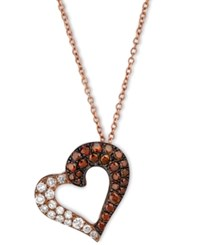 Le Vian Exotics Red And White Diamond Heart Necklace 3 8 Ct. T.W. In 14K Rose Gold