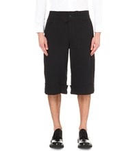 Yang Li Loose Fit Linen Blend Shorts Black Burgundy