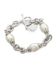 Majorica 12Mm White Baroque Pearl Station Bracelet