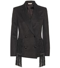 Edun Fringed Wool Blend Jacket Black