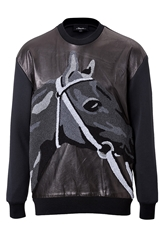 3.1 Phillip Lim Leather Knit Pullover With Terry Horse
