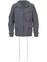 The Viridi Anne Layered Design Hooded Jacket Grey