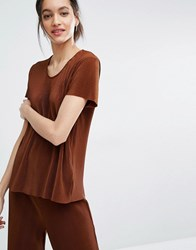 Just Female Quint T Shirt In Plisse Pleat Fabic Brown