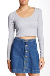 American Apparel Baby Rib Long Sleeve Crop Tee Gray