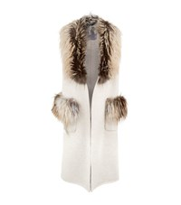 Lilly E Violetta Fox Fur Trim Gilet Beige