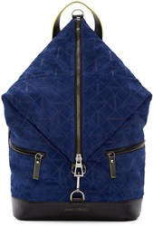 Jimmy Choo Blue Suede Origami Fitzroy Backpack