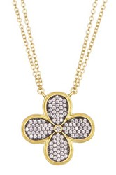 Freida Rothman 14K Gold Plated Sterling Silver Cz Pave Clover Pendant Necklace Black