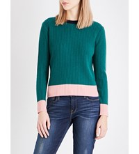 Chinti And Parker Ribbed Wool Cashmere Blend Jumper Green Pink Navy
