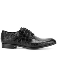 Emporio Armani Crocodile Embossed Derby Shoes Leather Black