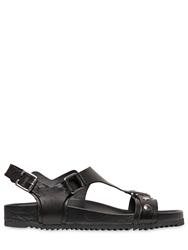 Just Cavalli Metallic Detail Leather Sandals Black