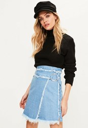 Missguided Blue Wrap Around Frayed Denim Skirt