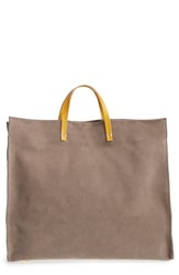 Clare V. Simple Suede Tote Brown Taupe Yellow Rustic