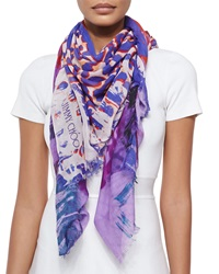 Jimmy Choo Printed Scarf Purple Multicolor