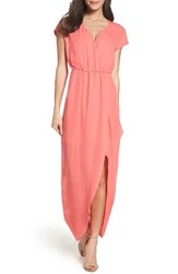 Charles Henry Women's Faux Wrap Woven Maxi Dress Coral