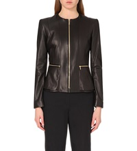 Hugo Boss Sakira Leather Jacket Black
