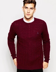 Jack Wills Jumper In Cable Knit Burgandy Damsonmarl
