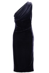 Cushnie Et Ochs One Shoulder Cutout Velvet Dress Midnight Blue