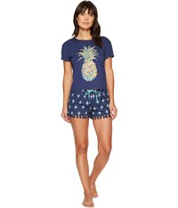 Lucky Brand Pineapple Graphic Tee Short Set Ditsy Mandala Women's Pajama Sets Blue