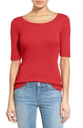 Caslonr Women's Caslon Ballet Neck Cotton And Modal Knit Elbow Sleeve Tee Red Bloom