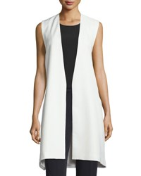 Milly Open Front Angular Long Vest White