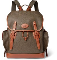 Mulberry Heritage Leather Trimmed Pebble Grain Coated Canvas Backpack Green 7a77f904afbd5