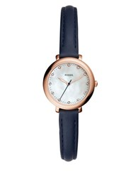 Fossil Jacqueline Round Leather Strap Watch Navy Blue
