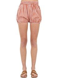 Dodo Bar Or Checked Cotton And Lace Shorts Rust