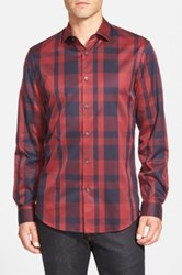 Calibrate Trim Fit Plaid Sport Shirt Regular And Tall Red