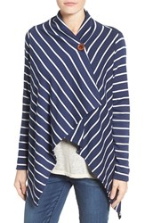 Bobeau Women's One Button Fleece Wrap Cardigan Navy Ivory Stripe