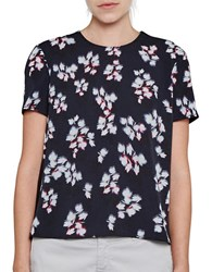 French Connection Floral Print Short Sleeved Crepe Top Blue