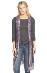 Fever Multicolor Long Sweater Vest With Fringe Blue Combo
