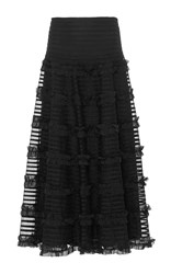 Red Valentino Crepon Skirt With Point D'esprit And Embroidered Ruffle Ribbon Detail Black