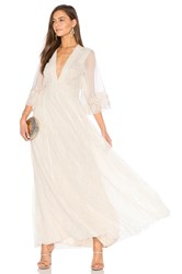 Free People Eclair Embroidered Maxi Dress Cream