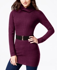 Amy Byer Bcx Juniors' Belted Mixed Knit Sweater Dress Bordeaux