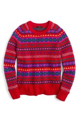 J.Crew Women's Holly Fair Isle Sweater Poppy Hazelnut