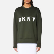 Dkny Women's Extra Long Sleeve Crew Neck Sweatshirt With Logo Military White Green