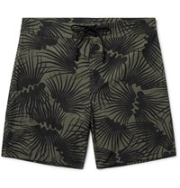 Outerknown Happy Evolution Long Length Printed Econyl Swim Shorts Army Green
