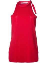 Dion Lee Shoulder Tie Knitted Tank Red