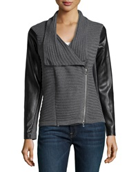 Neiman Marcus Rib Knit Faux Leather Inset Moto Cardigan Heather Gray Black